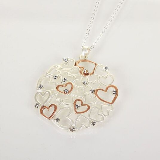 Silver & Rose Gold Plated Hearts Necklace