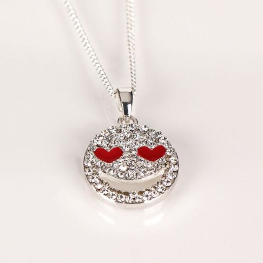 Silver Plated Character Icon Heart Eyes Necklace