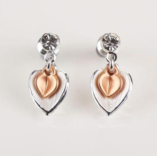 Matt Silver/ Rose Gold Plated Heart Earrings