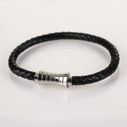 Men Indent Clasp Black Leather Bracelet