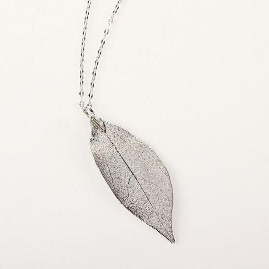 Platinum Plated Leaf Necklace