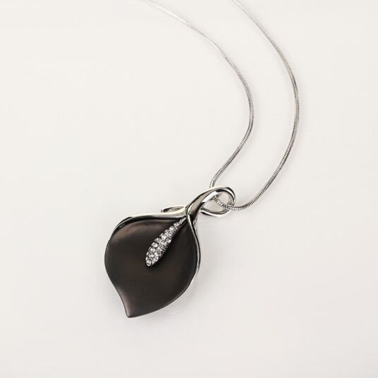 Grey Calla Lily Necklace