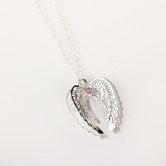 Pink 3D Guardian Angel Wings Necklace