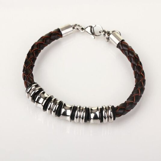 Men's Spaced Stainless Steel Brown Leather Bracelet