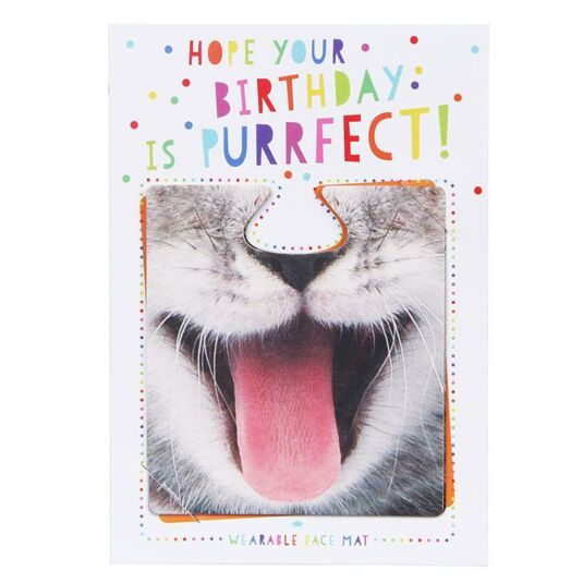 Hope Your Birthday Is Purrfect! Face Mat Card