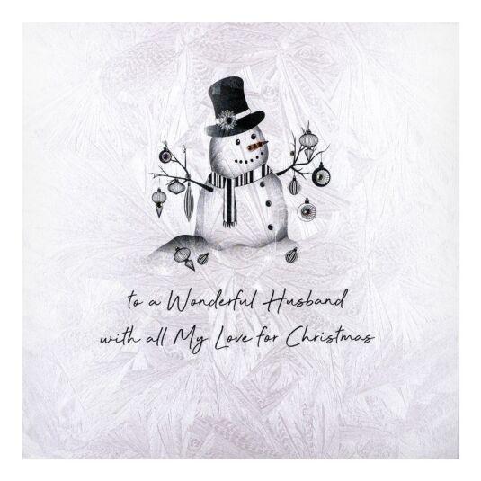 'To A Wonderful Husband' Snowman Christmas Card
