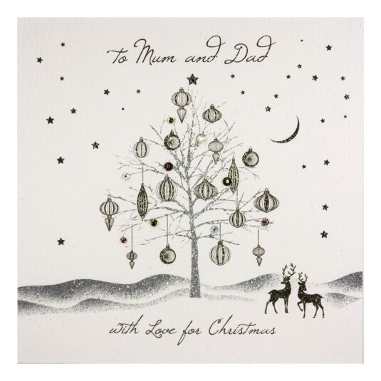 'To Mum & Dad' Festive Bejewelled Tree Christmas Card