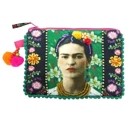 Frida Kahlo Embroidered Zip Purse