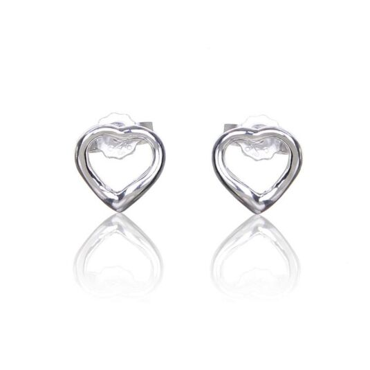 Open Heart Boxed Silver Stud Earrings