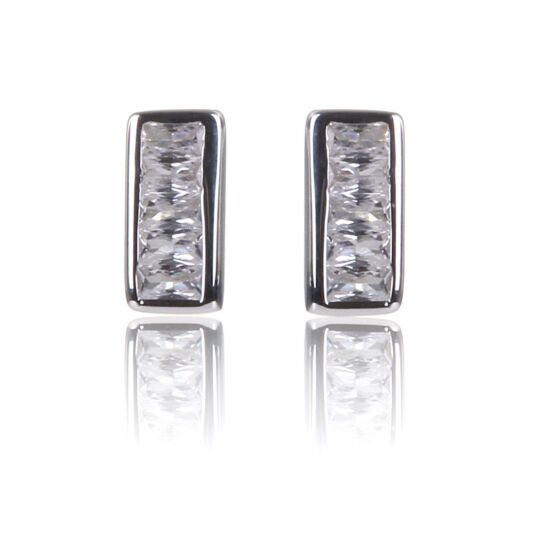 Clear CZ Channel Set Stud Earrings
