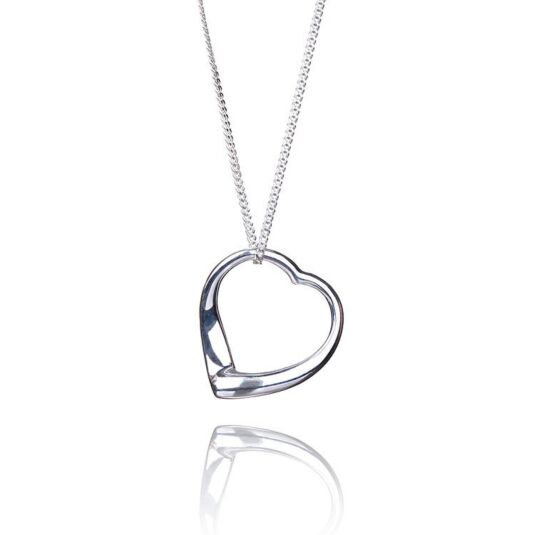 Open Heart Boxed Silver Pendant