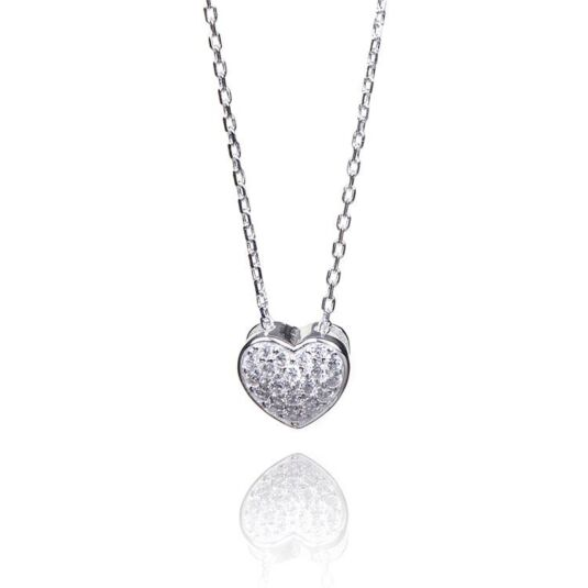 Clear Cubic Zirconia Boxed Heart Necklace