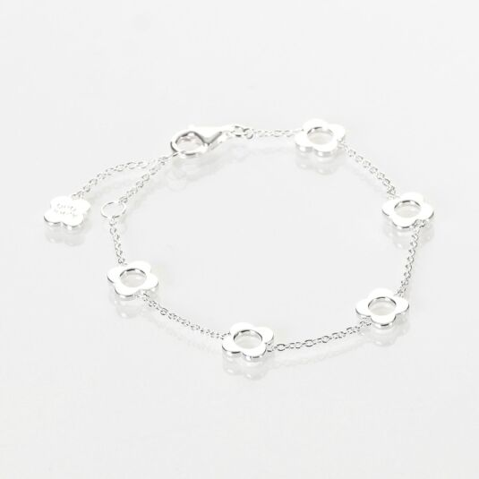 Sterling Silver-Plated Four Point Flower Bracelet