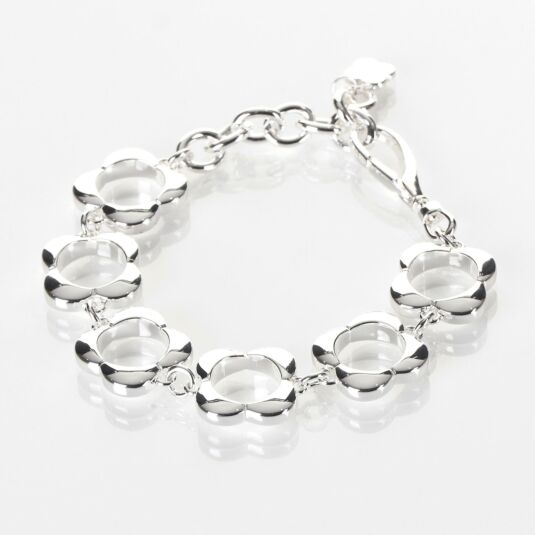 Sterling Silver-Plated Open Flower Bracelet