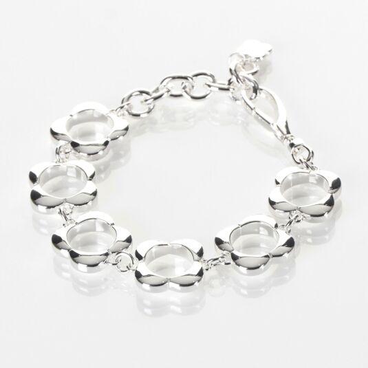 Sterling Silver-Plated Open Flower Bracelet