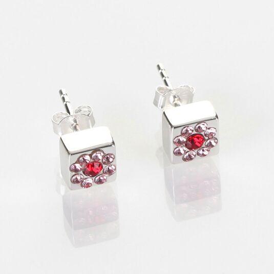 Silver Swarovski Flower Cube Stud Earrings
