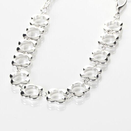Sterling Silver-Plated Open Flower Choker