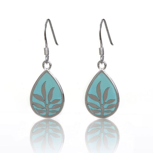 Blue Enamel Teardrop Boxed Silver Earrings