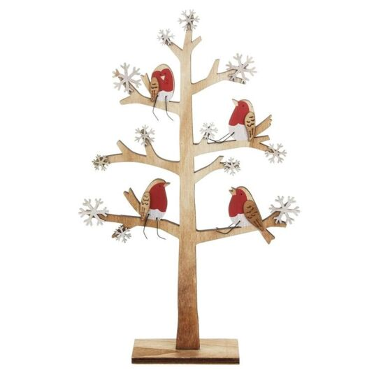 Wooden Tree with Robins Christmas Decoration