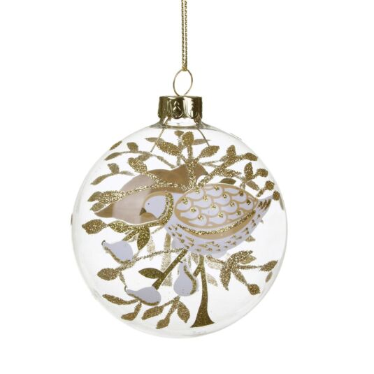 Partridge in a Pear Tree Glass Bauble