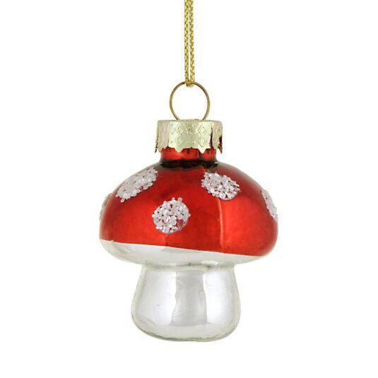 Mini Glass Toadstool Christmas Tree Decoration