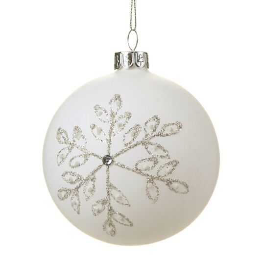 Matte White Bauble with Silver Snowflakes