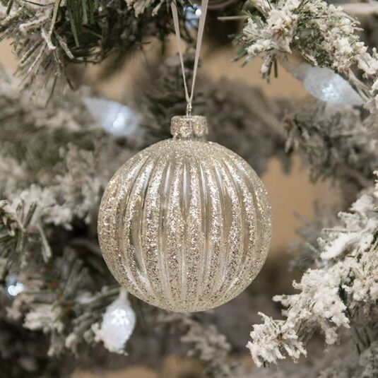 Clear Ribbed Glass Bauble with Silver Stripes