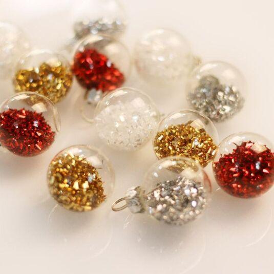 Box of 12 Glitter Filled Clear Glass Mini Ball Tree Decorations