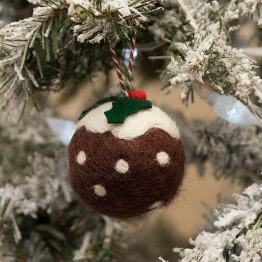 Eco Wool Brown Christmas Pudding Bauble