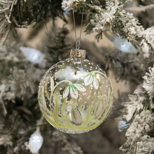 Clear Glass Bauble with Painted Snowdrops