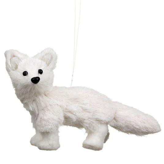 Assorted White Bristle Baby Fox Christmas Decoration