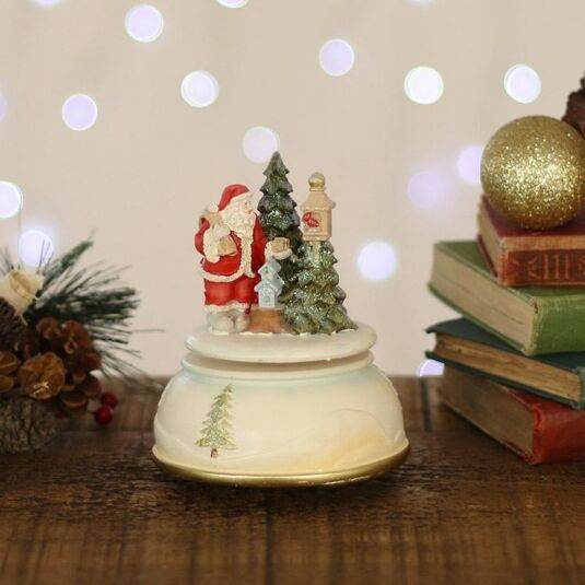 Vintage Santa and Tree Musical Snow Globe