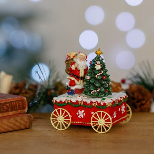 Santa with Tree on Cart Music Box