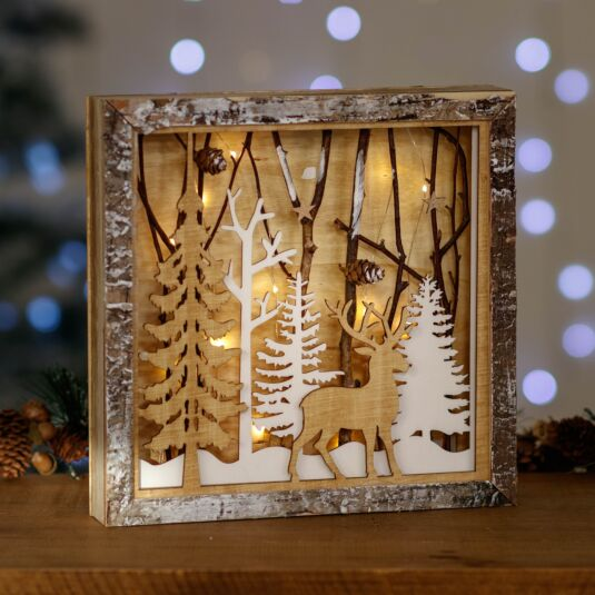 Wooden Forest Scene LED Ornament