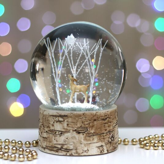 Winter Scene with Deer Snow Globe