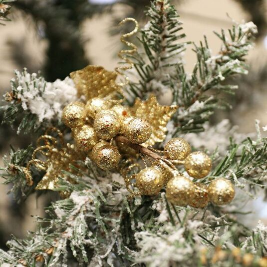 Gold Glitter Ball Cluster with Leaves Decoration