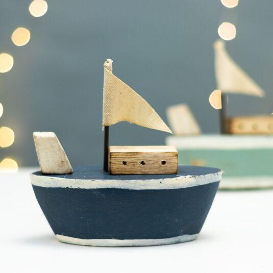 Navy Wooden Tug Boat Ornament