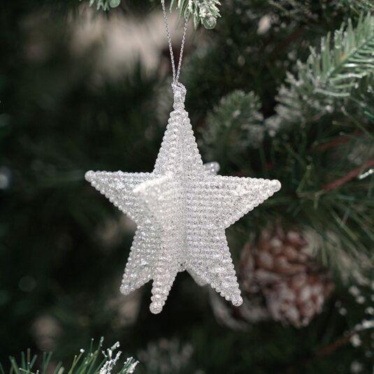 Silver Glitter 3D 5 Point Star Tree Decoration