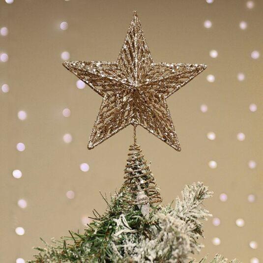 Pale Gold Glitter Star Tree Topper