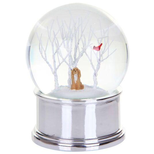 Dog and Bird Christmas Scene Musical Snow Globe