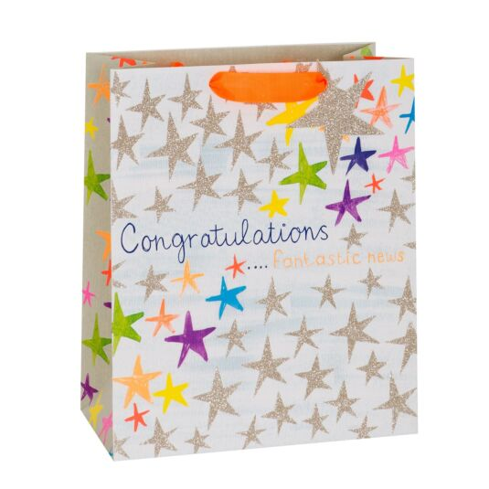 Congratulations Stars Large Gift Bag