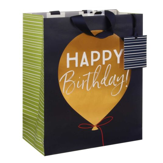Happy Birthday Golden Balloon Large Gift Bag