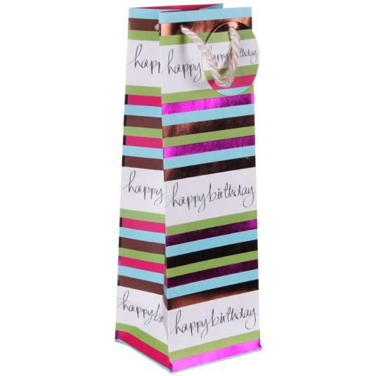 Stripes Happy Birthday Bottle Gift Bag