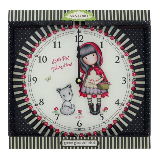 Little Red Riding Hood Glass Wall Clock