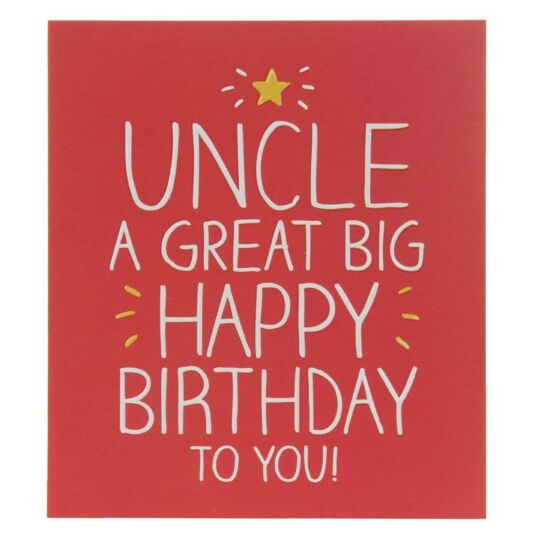Uncle A Great Big Birthday Card