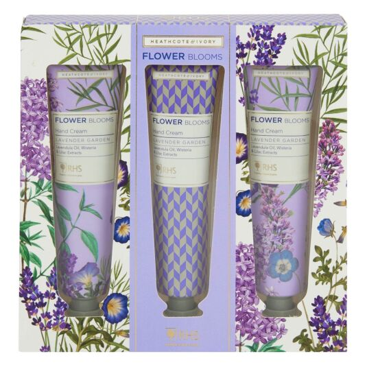 RHS Flower Blooms Lavender Garden Set of Three Hand Creams