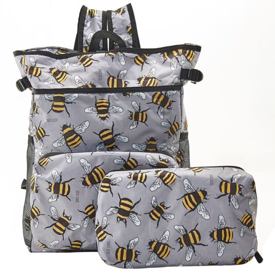 Grey Bumblebees Foldaway Cooler Backpack