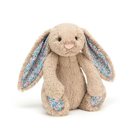 Medium Beige Blue Blossom Bashful Bunny