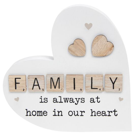 Family Scrabble Sentiment Freestanding Heart