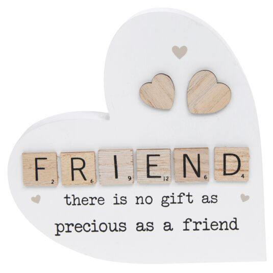 Friend Scrabble Sentiment Freestanding Heart